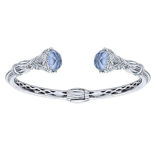 925 Silver and Stainless Steel Rock Crystal and Blue Jade Open Bangle