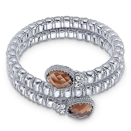 925 Silver and Stainless Steel Smokey Quartz Bangle