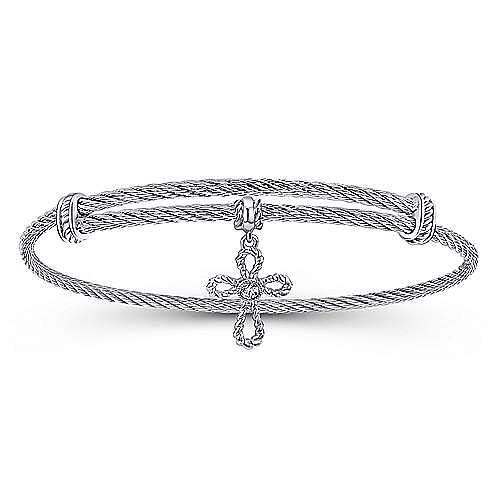 Gabriel - 925 Silver/stainless Steel Round Charm White Sapphire