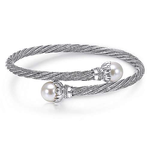 925 Silver/stainless Steel Twisted Cable Cultured Pearl Bangle