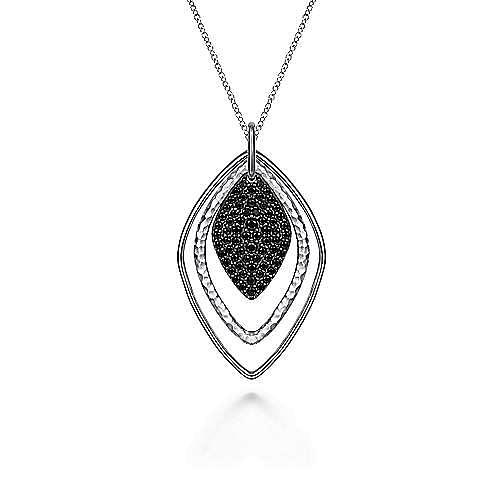 925 Sliver Plated Layered Black Spinel Cluster Necklace