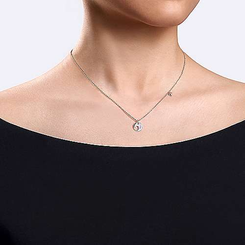 925 Sterling Rose-White Silver Plated Heart Pendant Necklace