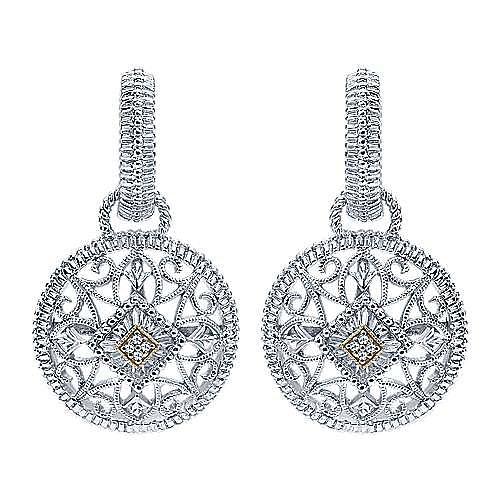 925 Sterling Silver - 18K Yellow Gold Diamond Drop Earrings