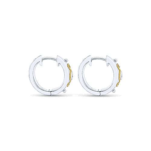 925 Sterling Silver & 18k Yellow Gold Vintage Inspired 15mm Huggie Earrings