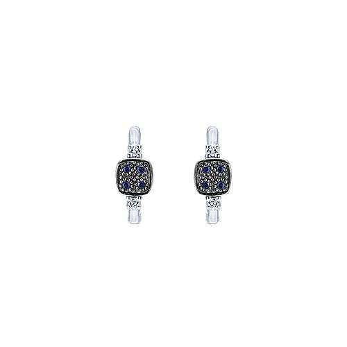 925 Sterling Silver 10mm Square Sapphire and White Sapphire Huggie Earrings