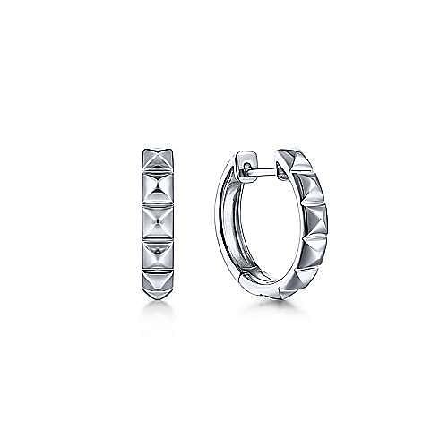 925 Sterling Silver 15mm Grommet Pattern Huggie Earrings