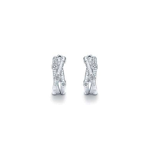 925 Sterling Silver 15mm Twisting Diamond Huggies