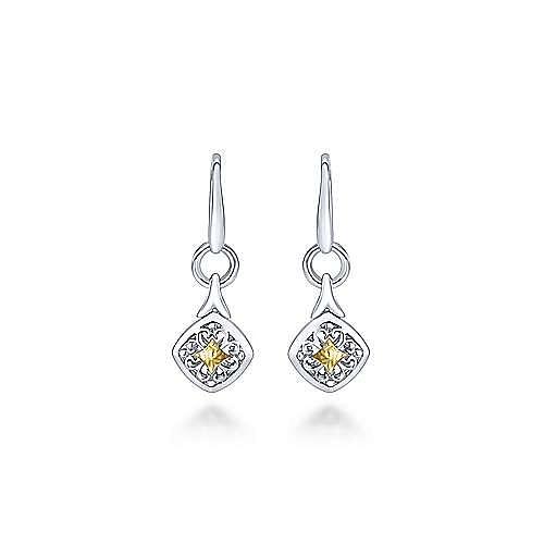 925 Sterling Silver-18K Yellow Dainty Drop Earrings