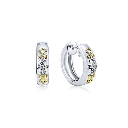 925 Sterling Silver-18K Yellow Gold 15mm Diamond Huggies