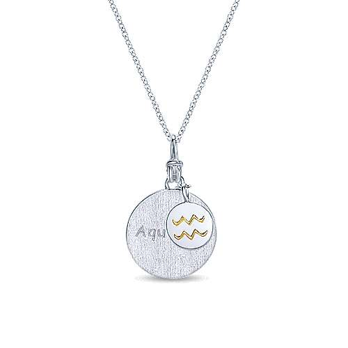 925 Sterling Silver-18K Yellow Gold Aquarius Zodiac Charm Necklace