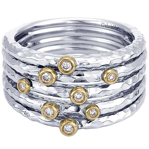 925 Sterling Silver-18K Yellow Gold Bezel Set Diamond Station Ring
