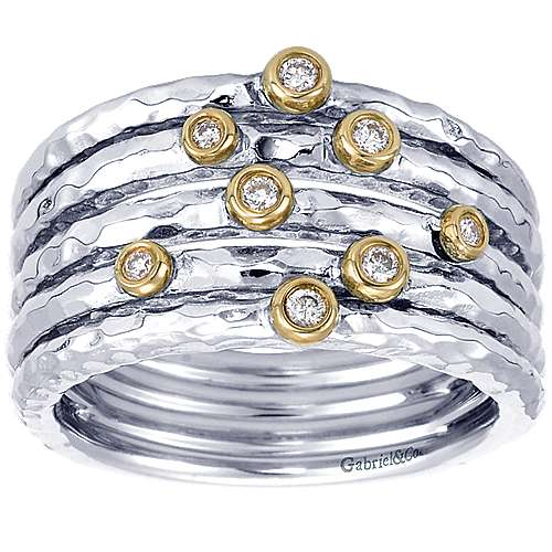 925 Sterling Silver-18K Yellow Gold Bezel Set Diamond Station Ring