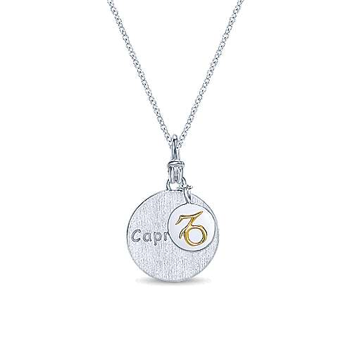 925 Sterling Silver-18K Yellow Gold Capricorn Zodiac Charm Necklace