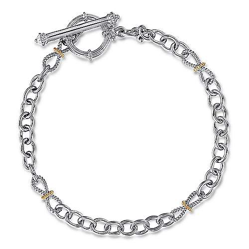 925 Sterling Silver/18K Yellow Gold Chain Toggle Bracelet