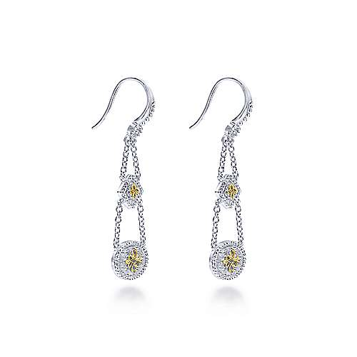 925 Sterling Silver-18K Yellow Gold Cylinder Tiered Drop Earrings