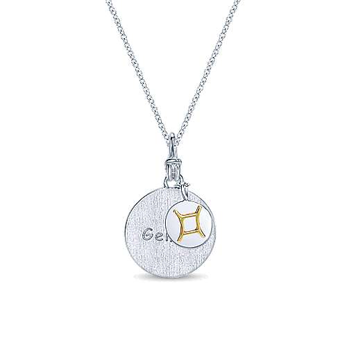 925 Sterling Silver-18K Yellow Gold Gemini Zodiac Charm Necklace