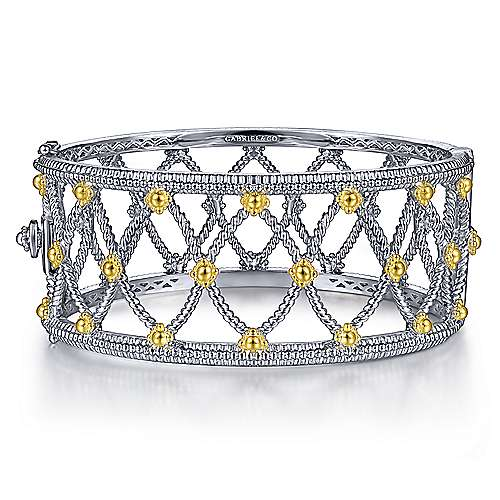 925 Sterling Silver-18K Yellow Gold Openwork Wide Bangle