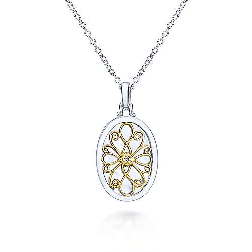 925 Sterling Silver-18K Yellow Gold Oval Filigree Diamond Locket Necklace