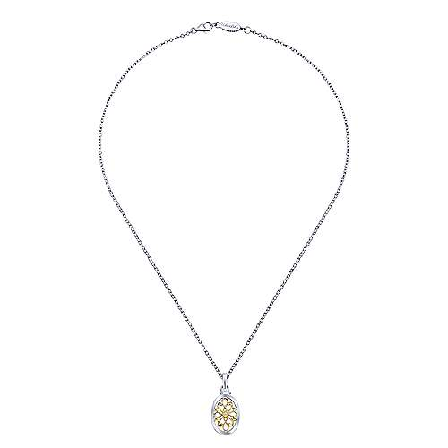 925 Sterling Silver-18K Yellow Gold Oval Filigree Diamond Pendant Necklace