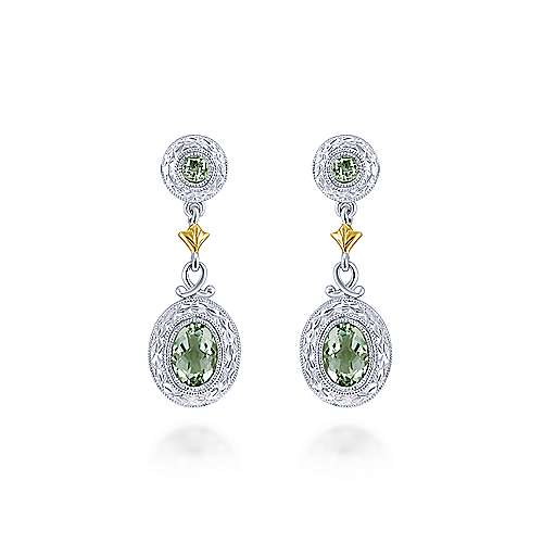 925 Sterling Silver-18K Yellow Gold Oval Green Amethyst Drop Earrings