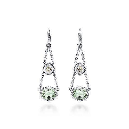 925 Sterling Silver-18K Yellow Gold Pendulum Green Amethyst  Drop Earrings