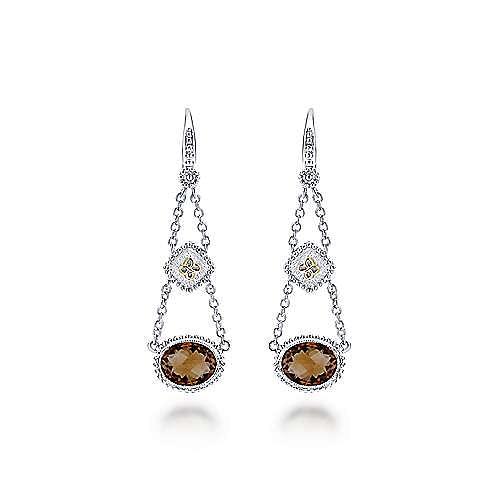 925 Sterling Silver-18K Yellow Gold Pendulum Smoky Quartz Drop Earrings