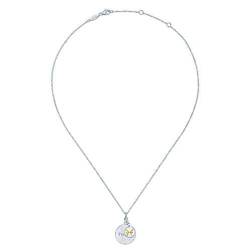 925 Sterling Silver-18K Yellow Gold Pisces Zodiac Charm Necklace
