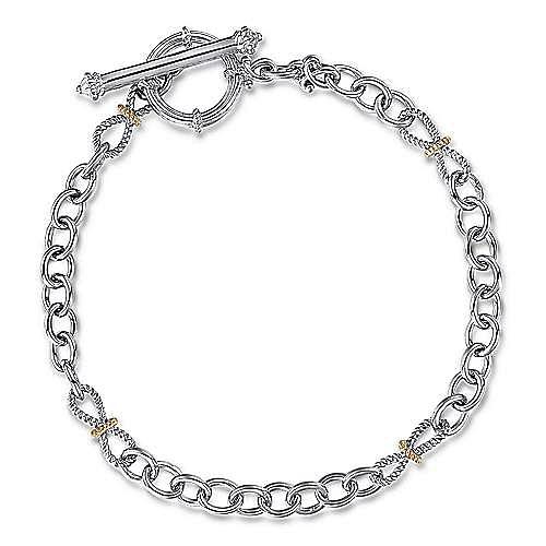 925 Sterling Silver-18K Yellow Gold Plain Bracelet