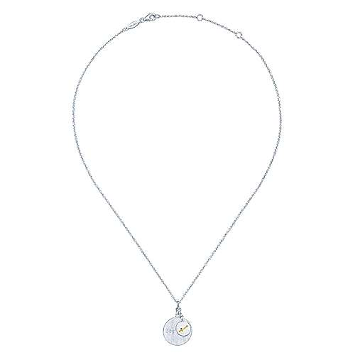 925 Sterling Silver-18K Yellow Gold Sagittarius Zodiac Charm Necklace