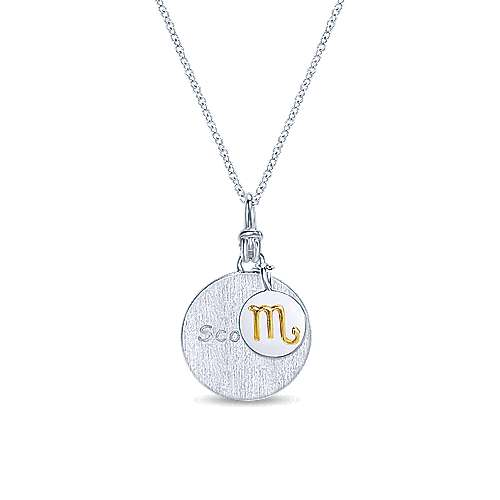 925 Sterling Silver-18K Yellow Gold Scorpio Zodiac Charm Necklace