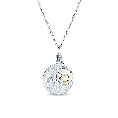 925 Sterling Silver-18K Yellow Gold Taurus Zodiac Charm Necklace