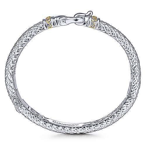 925 Sterling Silver-18K Yellow Gold Textured Bangle with Lock