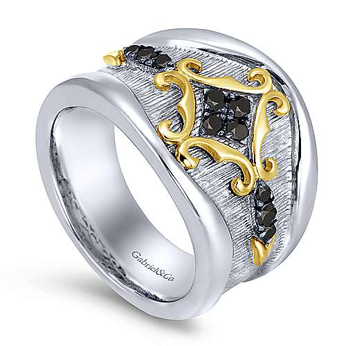 925 Sterling Silver-18K Yellow Gold Twisted Cluster Black Diamond Ladies Ring