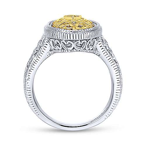 925 Sterling Silver-18K Yellow Gold Twisted Diamond Ladies Ring
