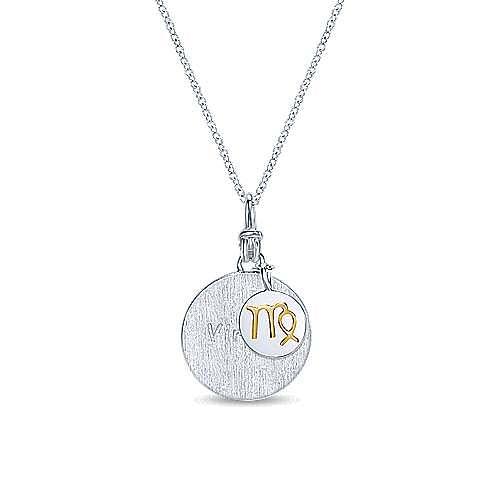 925 Sterling Silver-18K Yellow Gold Virgo Zodiac Charm Necklace