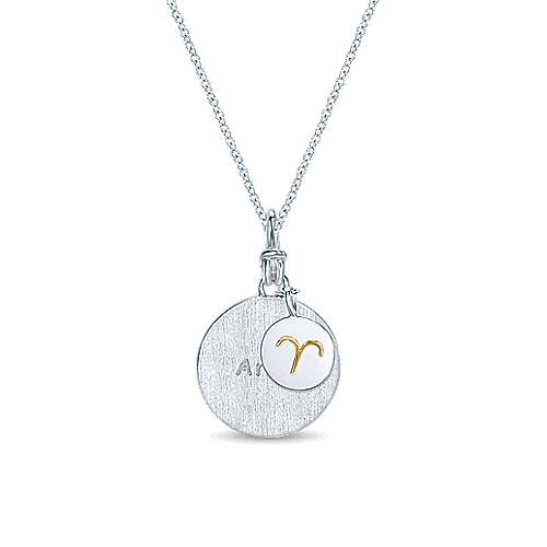 925 Sterling Silver/18k Yellow Gold Aries Zodiac Necklace