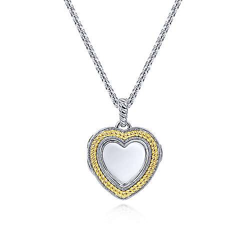 Gabriel - 925 Sterling Silver/18k Yellow Gold Heart Shaped Glass Front Locket Necklace
