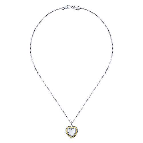 925 Sterling Silver/18k Yellow Gold Heart Shaped Glass Front Locket Necklace