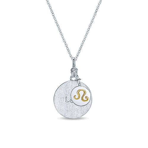 925 Sterling Silver18k Yellow Gold Leo Zodiac Necklace Nk5704le