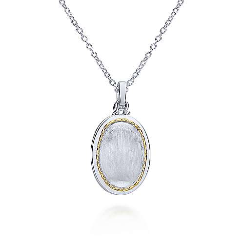925 Sterling Silver-18k Yellow Gold Oval Locket Necklace