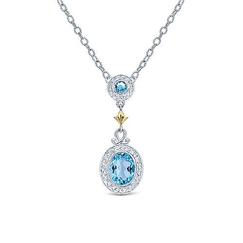 925 Sterling Silver/18k Yellow Gold Vintage Inspired Swiss Blue Topaz Necklace