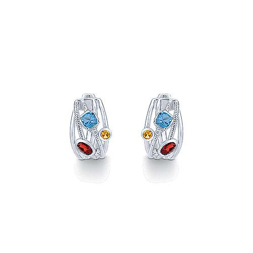 925 Sterling Silver 20mm Twisted Garnet and Blue Topaz and Citrine Hoop Earrings