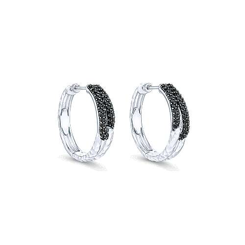 925 Sterling Silver 25MM Black Spinel Hoop Earrings