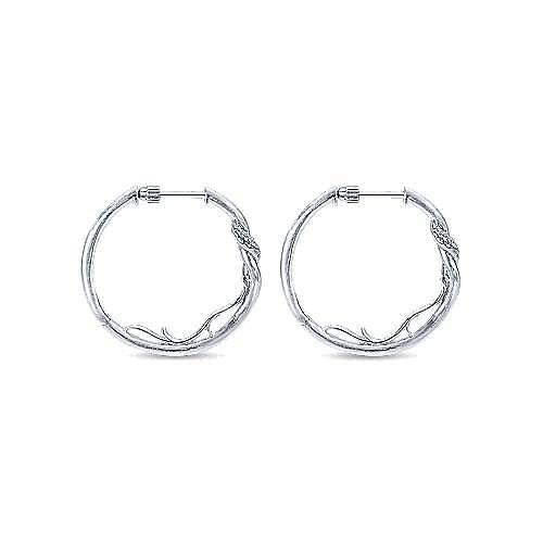 925 Sterling Silver 25mm Twisted White Sapphire Hoop Earrings