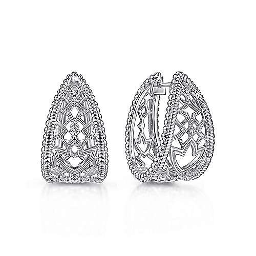 925 Sterling Silver 25mm Wide Intricate White Sapphire Hoop Earrings