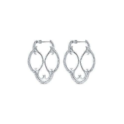 925 Sterling Silver 30mm Irregular White Sapphire Hoop Earrings