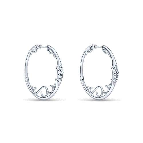 925 Sterling Silver 35mm White Sapphire Hoop Earrings