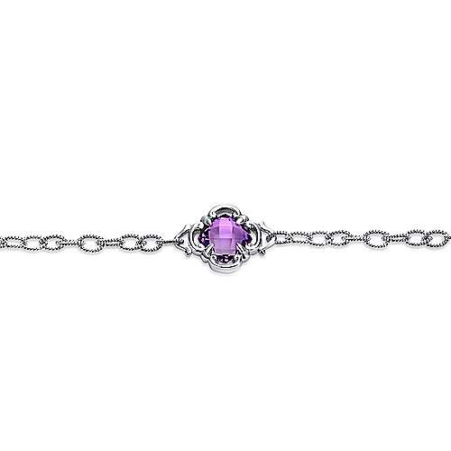 925 Sterling Silver Amethyst Clover Station Chain and Toggle Bracelet