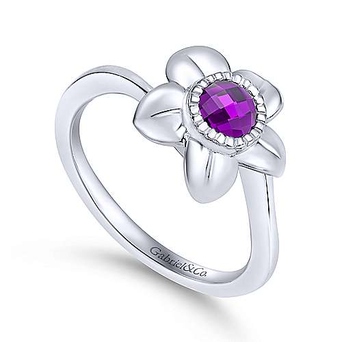 925 Sterling Silver Amethyst Flower Ring