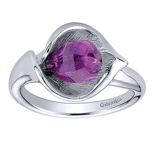 925 Sterling Silver Amethyst Ladies Ring